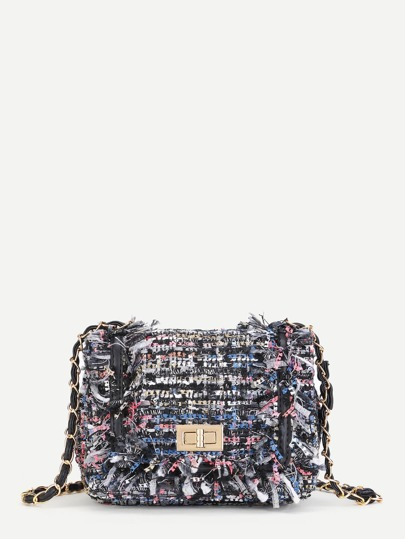 Tweed Flap Chain Crossbody Bag