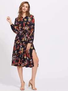 Flower Print Slit Side Tiered Shirt Dress