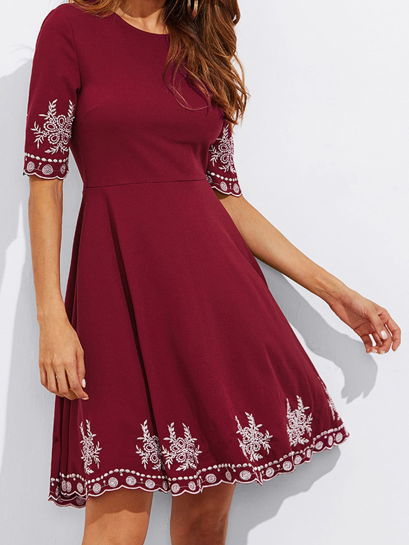 Embroidered Detail Scallop Hem Fitted & Flared Dress zip back fit and flared plaid dress