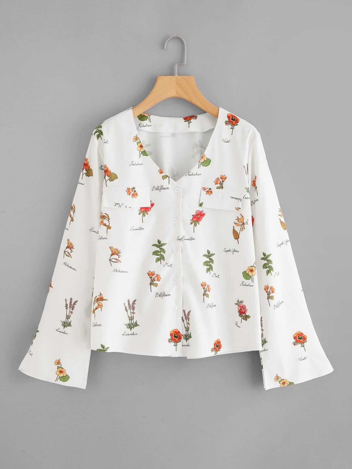 Bell sleeve flower print button up shirt emmacloth women for Floral print button up shirt