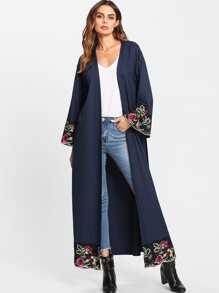 Flower Embroidered Hidden Pocket Detail Belted Abaya