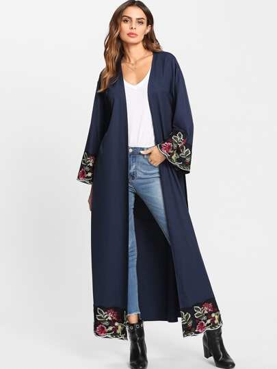 Flower Embroidered Hidden Pocket Detail Belted Abaya
