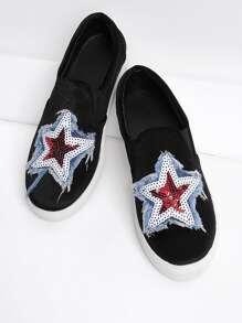 Zapatillas de punta redonda con patrón de estrella