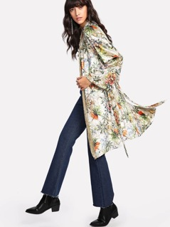 Self Belted Floral Velvet Kimono