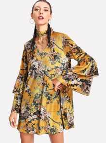 Choker Neck Floral Velvet Dress