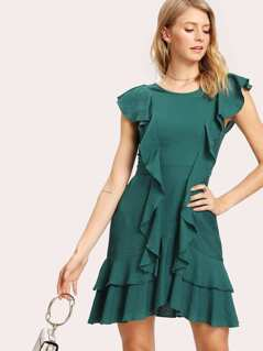 Flounce Embellished Tiered Hem Dress
