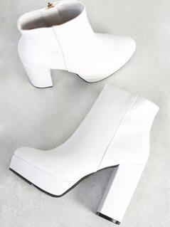 Patent Platform Boots WHITE