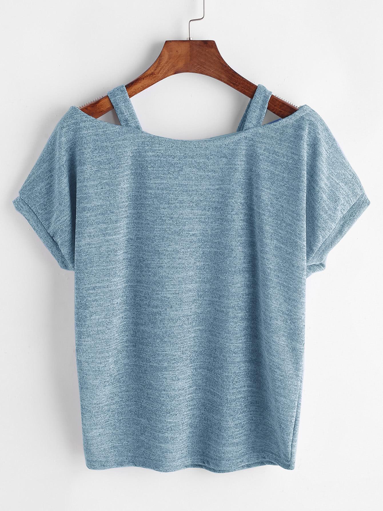 Open Shoulder Marled Knit Tee цена 2017