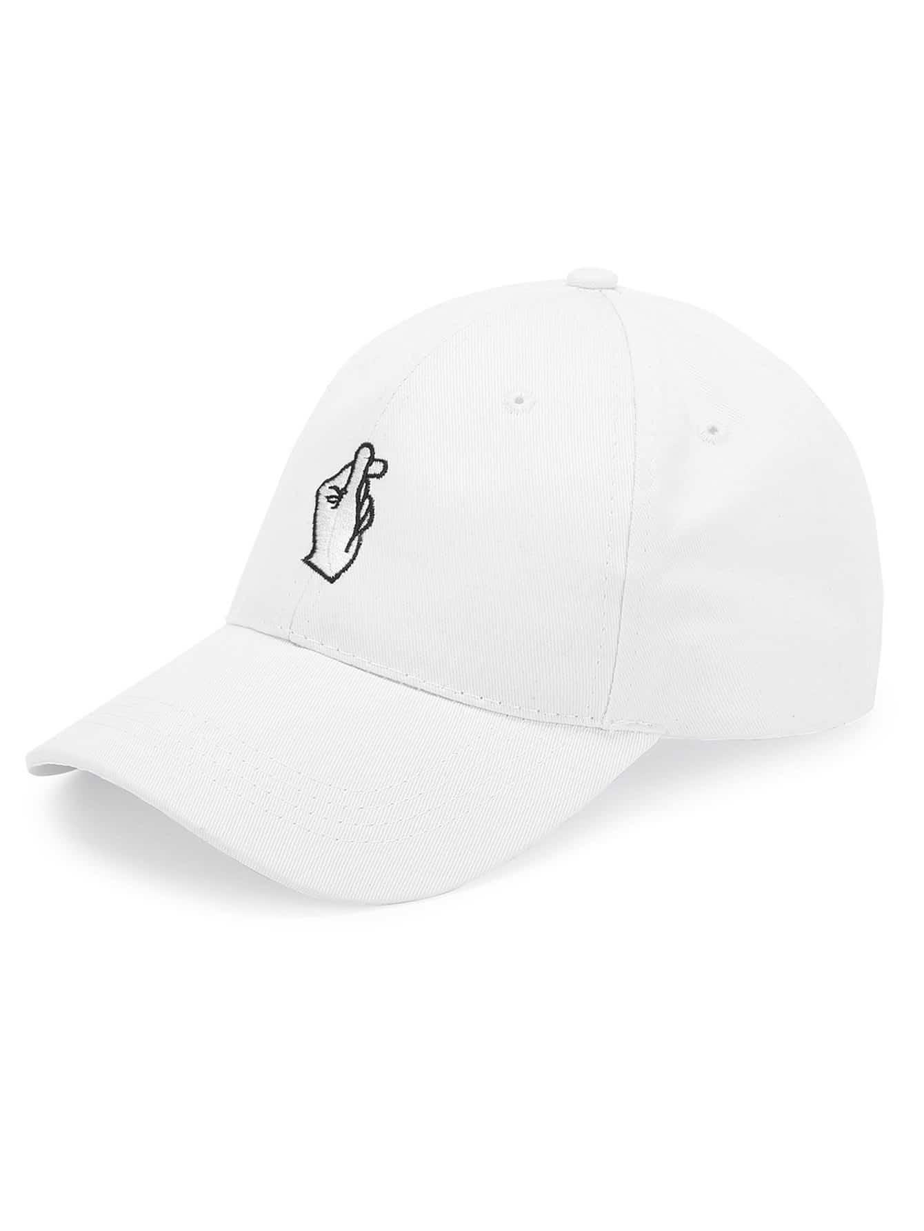Embroidered Finger Detail Baseball Cap