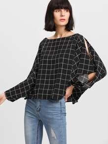 Split Dolman Sleeve Grid Top