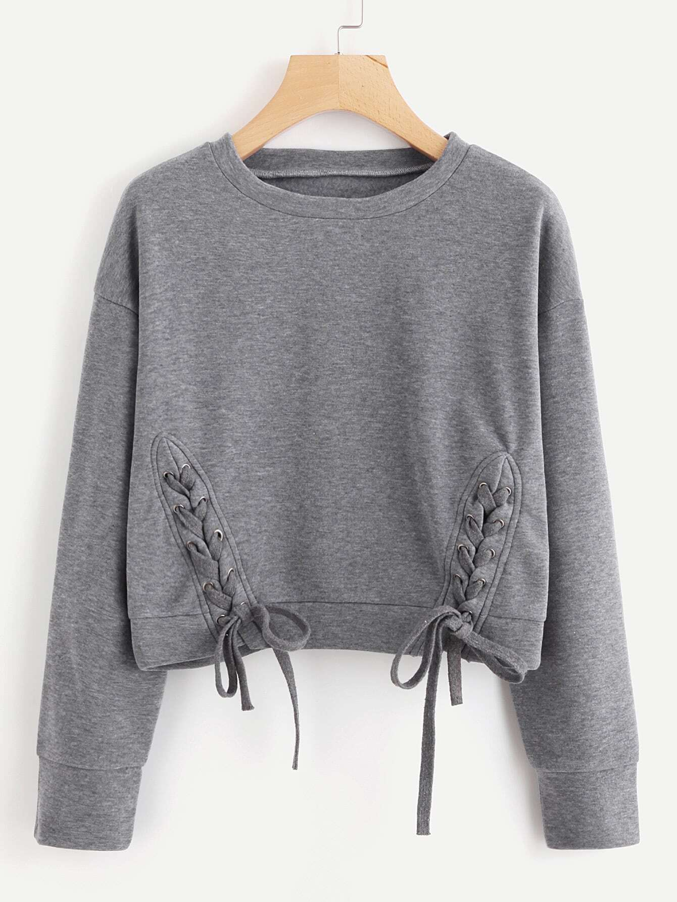 Lace Up Detail Marled Pullover pearl and layered lace detail pullover