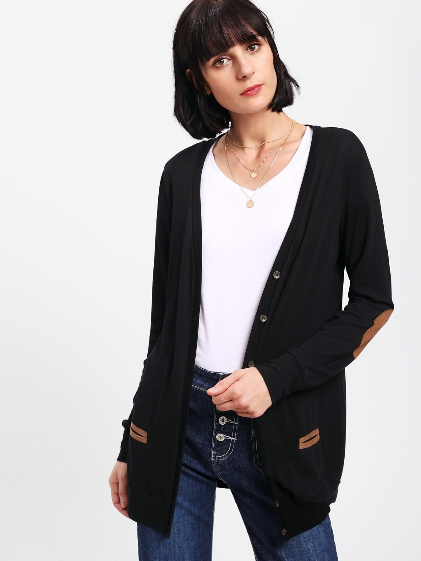 Elbow Patched Open Front Coat