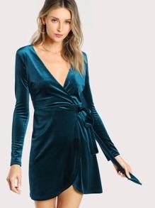 Velvet Plunging Neck Long Sleeve Dress TEAL