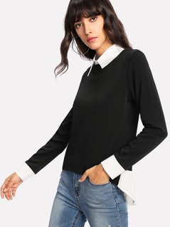 Contrast Collar And Cuff Top