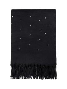 Fringe Trim Star Decorated Scarf