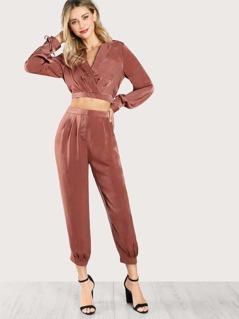 Satin Tie Long Sleeve Crop Top & Matching Pants Set MAUVE