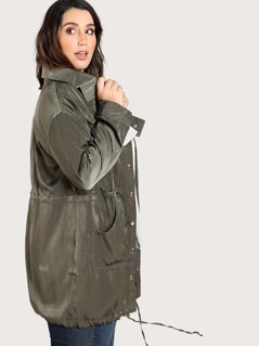 Satin Button Up Longine Jacket OLIVE