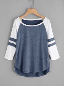 Varsity-Striped Dip Hem Tee