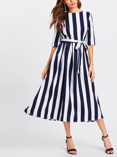 Button Keyhole Back Self Belt Vertical Striped Dress