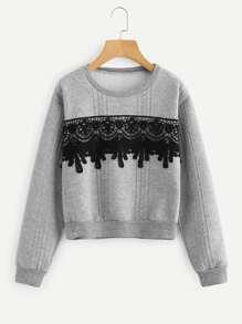 Lace Applique Sweatshirt