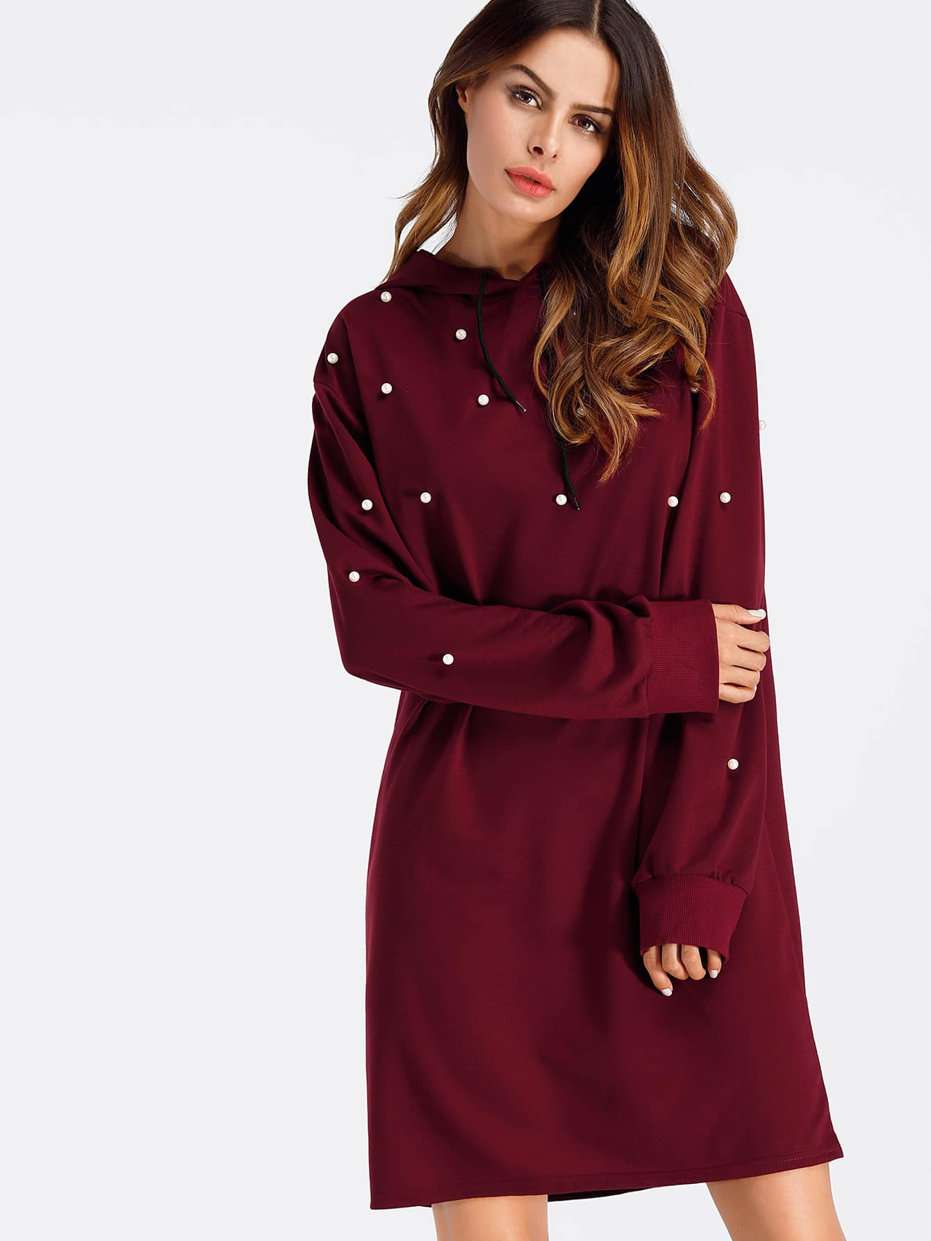 Pearl Beaded Detail Sweatshirt Dress frill layered pearl detail sweatshirt dress