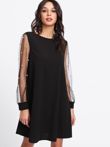 Pearl Beading Mesh Sleeve Dress
