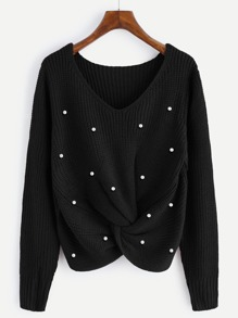 Pearl Beaded Detail Twist Sweater