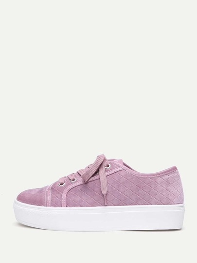 Quilted Lace Up Slip On Sneakers