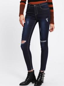 Ripped Raw Hem Tight Jeans