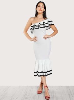 Contrast Binding Layered Flounce Fishtail Dress