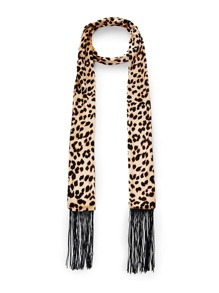 Fringe Trim Leopard Skinny Scarf