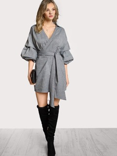 Gathered Sleeve Collared Surplice Wrap Dress