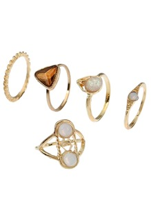 Twist Stone Ring Pack 5pcs