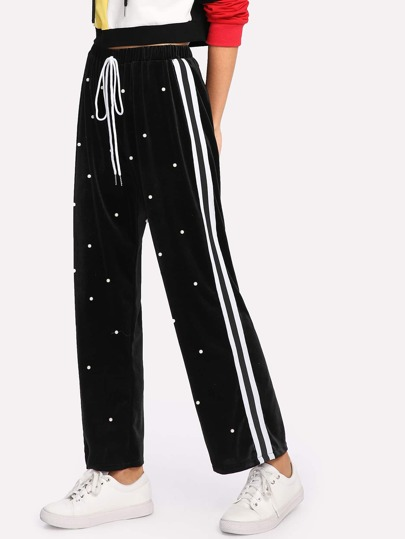 Striped Tape Side Pearl Beading Velvet Sweatpants