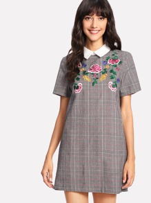 Botanical Embroidered Plaid Dress