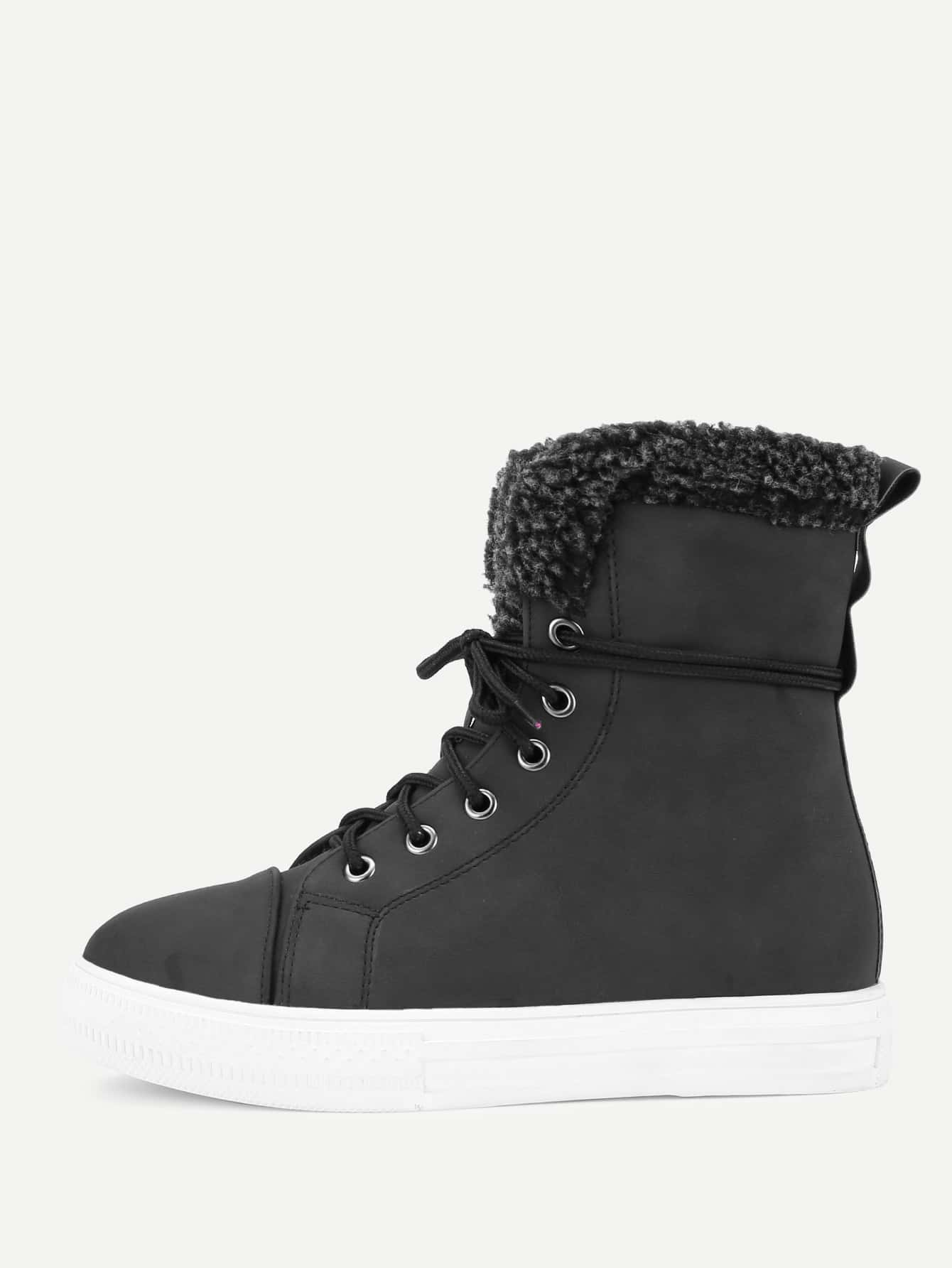 Lace Up Round Toe Ankle Boots