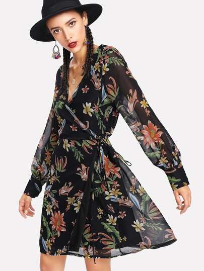 Semi Sheer Bishop Sleeve Floral Wrap Dress