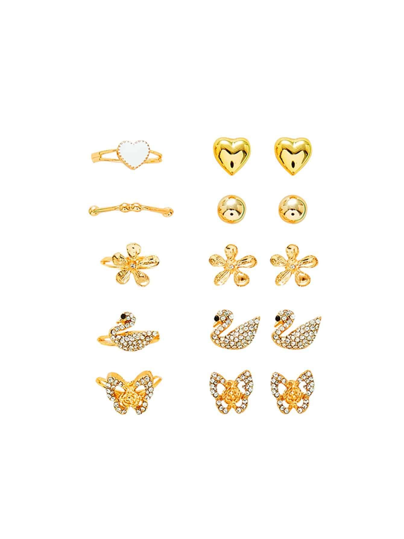 Swan & Heart Design Ring & Earring Set open heart design ring