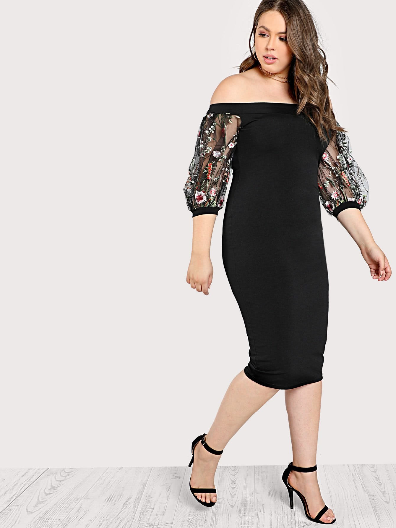Image of Bardot Pencil Dress With Embroidered Mesh Sleeve