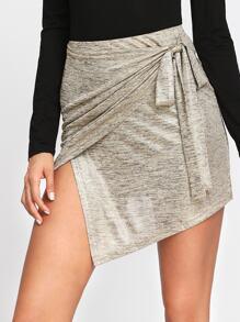 Knot Side Overlap Skirt