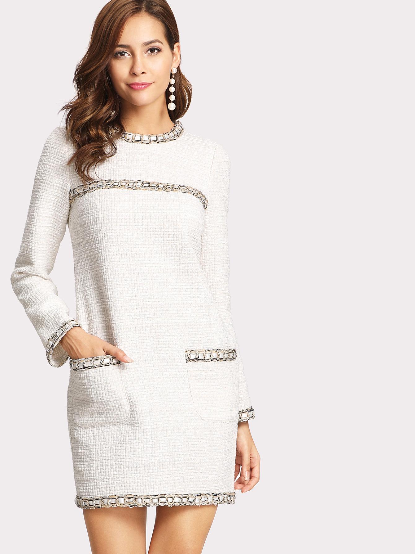 Whipstitch Trim Tweed Dress Shein Sheinside