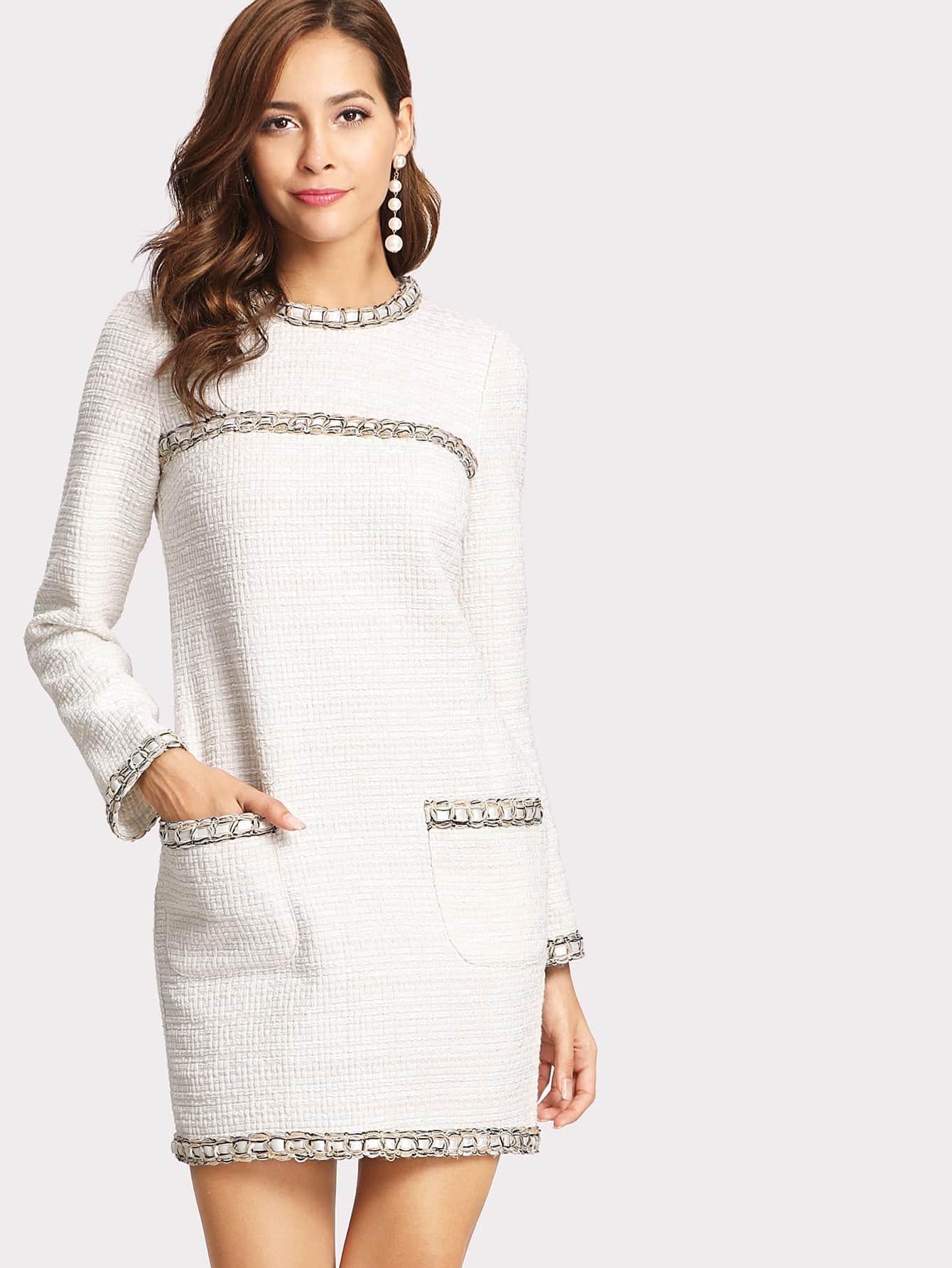 Whipstitch Trim Tweed Dress frayed trim houndstooth tweed dress