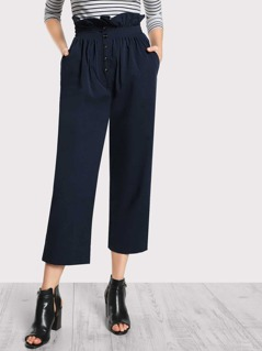 High Rise Shirred Waist Pants NAVY