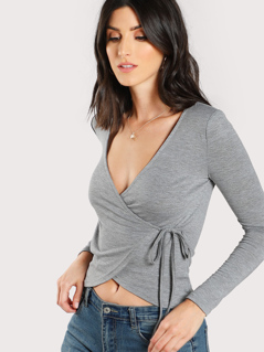 Solid Surplice Wrap T-shirt
