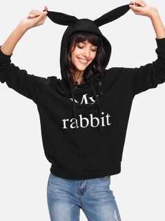 Letter Print Rabbit Ear Hoodie