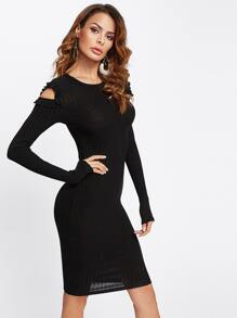 Frilled Cut Out Shoulder Ribbed Tee Dress