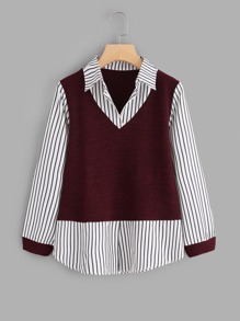 Contrast 2 In 1 Striped Blouse