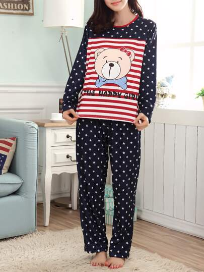 Cartoon Print Stripe Tee & Pants Pj Set