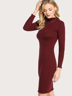 Long Sleeve Lettuce Hem Ribbed Dress BURGUNDY