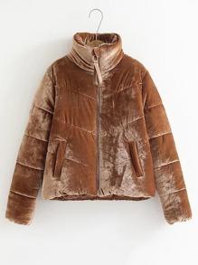 High Neck Velvet Padded Coat